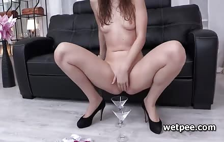 Ariadna dives in piss and finger fucks herself