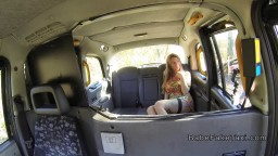 Huge tits lesbian babe licked in fake taxi