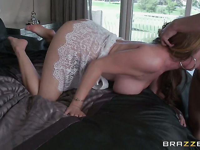 Milf oriental with massive melons takes schlong up her fuck hole in steamy interracial action
